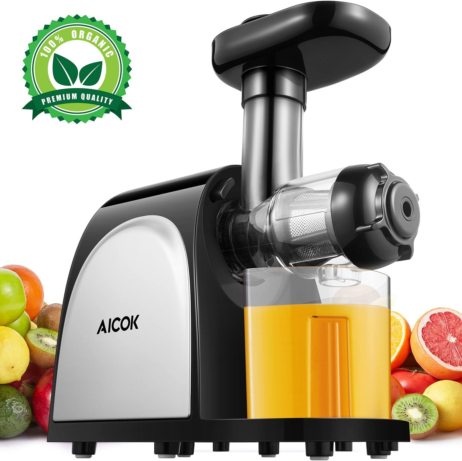 Aicok Juicer Slow Masticating Juice Extractor with Quiet Motor, Cold Press Machine Higher Juicer Yield and Drier Pulp with Reverse Function for