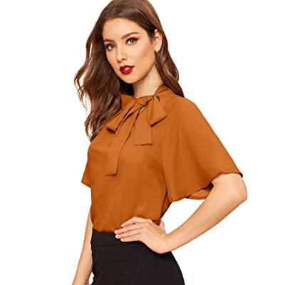 SheIn Women's Casual Side Bow Tie Neck Short Sleeve Blouse Shirt Top at Women's Clothing store