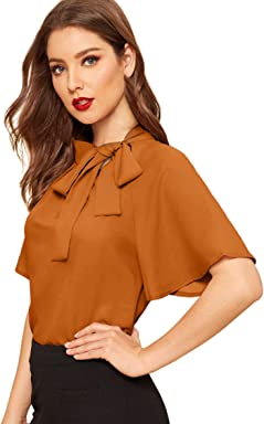 d448c07a6158 SheIn Women's Casual Side Bow Tie Neck Short Sleeve Blouse Shirt Top