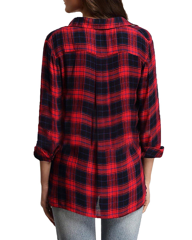 StyleDome Blusa Camisa Casual a Cuadros Elegante Oficina Algodón Mangas Largas para Mujer Rojo EU 48: Amazon.es: Ropa y accesorios