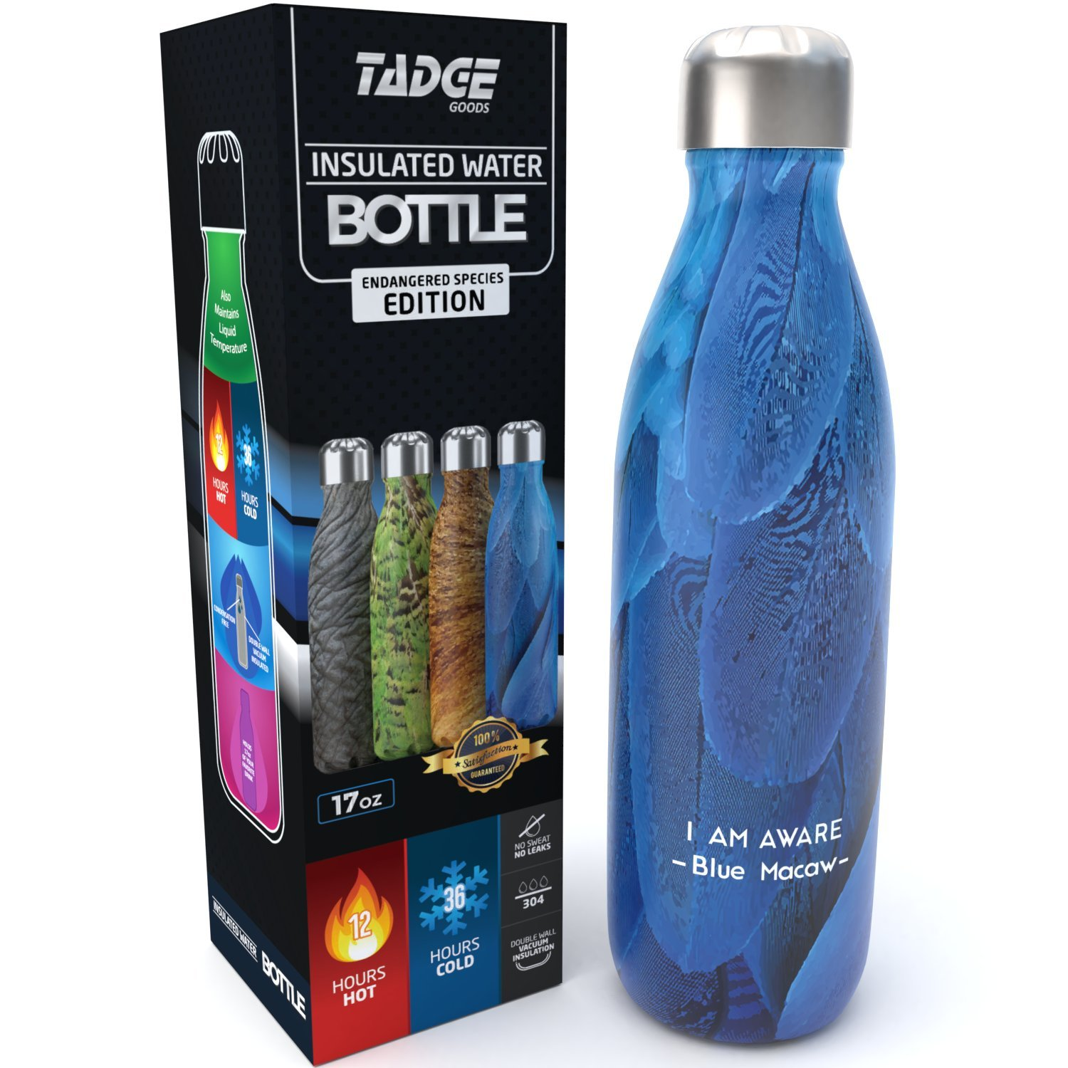Tadge Goods Insulated Stainless Steel Water Bottle - Endangered Species Edition - Metal Thermo Style Bottles Great Sports, Gym, Kids - Keeps Drinks Hot & Cold - 17 Oz Large