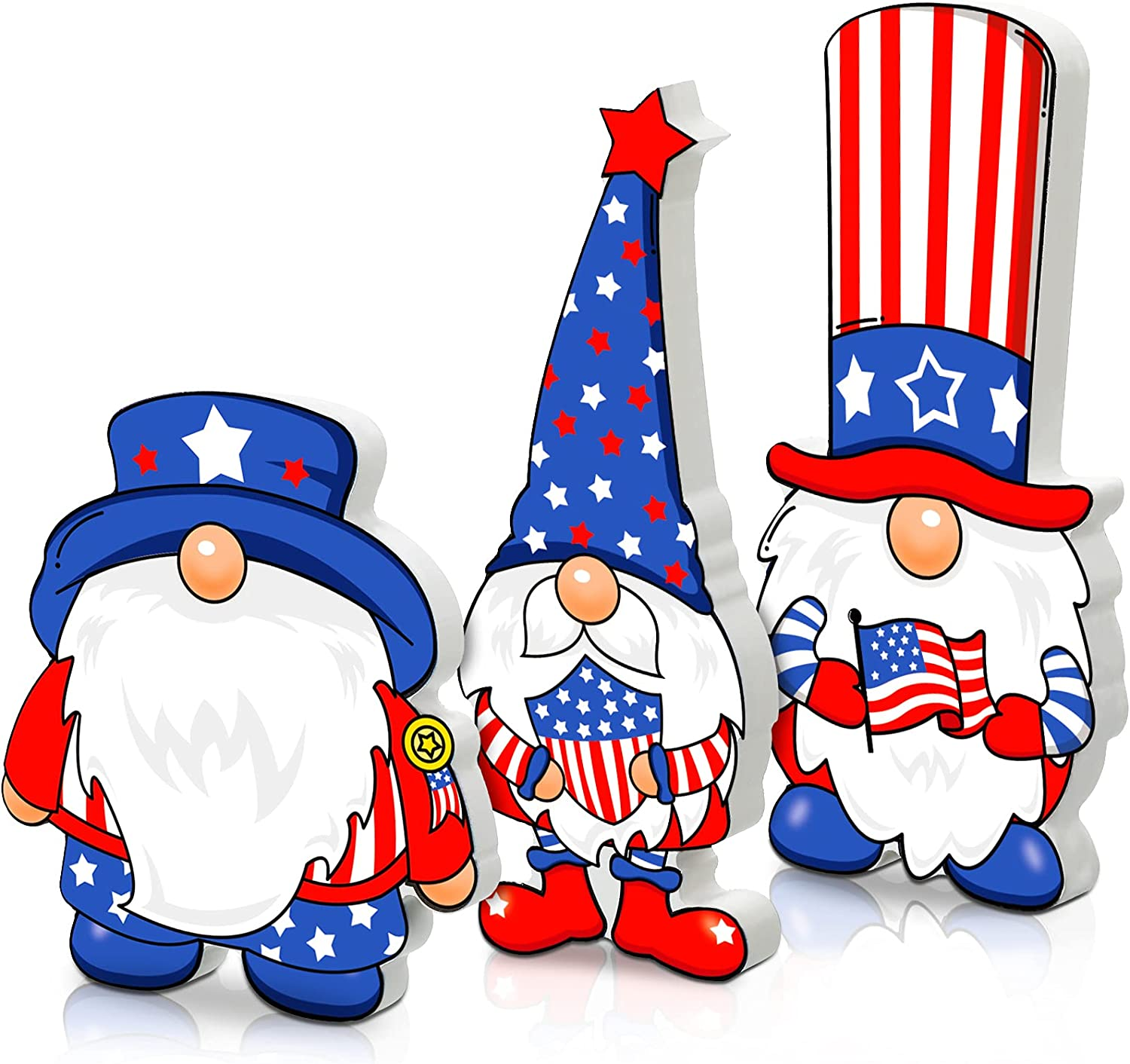 3 Pieces Independence Day Gnome Wooden Sign Patriotic Gnome Tiered Tray Decoration 4th of July Freestanding American Gnome Wooden Block for Veterans Day Home Office Desk Table Decor, 5.9 x 5.3 Inch