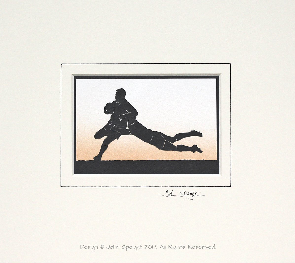 Rugby Original Signed Hand Cut Silhouette Papercut Art by John Speight - Gift for Him