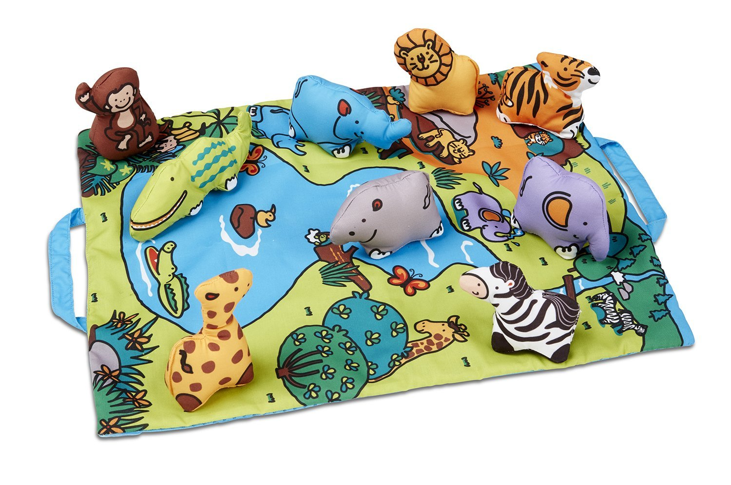Melissa & Doug Take-Along Folding Wild Safari Play Mat (19.25 x 14.5 inches) With 9 Animals Melissa and Doug 9215
