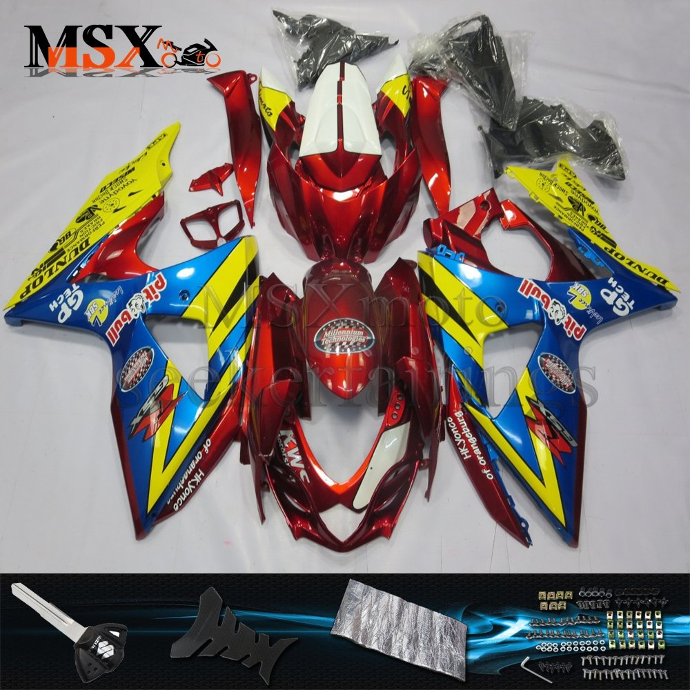 MSX-moto 適応ホンダ Suzuki GSXR1000 2009 2010 2011 2012 2013 2014 2015 2016 GSXR 1000 K9 09-16年 外装パーツセット ABS射出成型完全なオートバイ車体 青/ブルー&赤/レッドのボディ   B07F26Z6N7