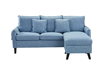 Classic Living Room Linen Sectional Sofa, L-Shape Couch with Pocket Organizer (Light Blue)