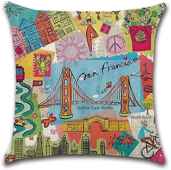 ClothHouse 4 Piezas De Dibujos Animados Imprimen La Vista De La Ciudad Funda De Almohada Funda De Coj/ín para Sof/á Funda De Almohada 45X45cm ,1