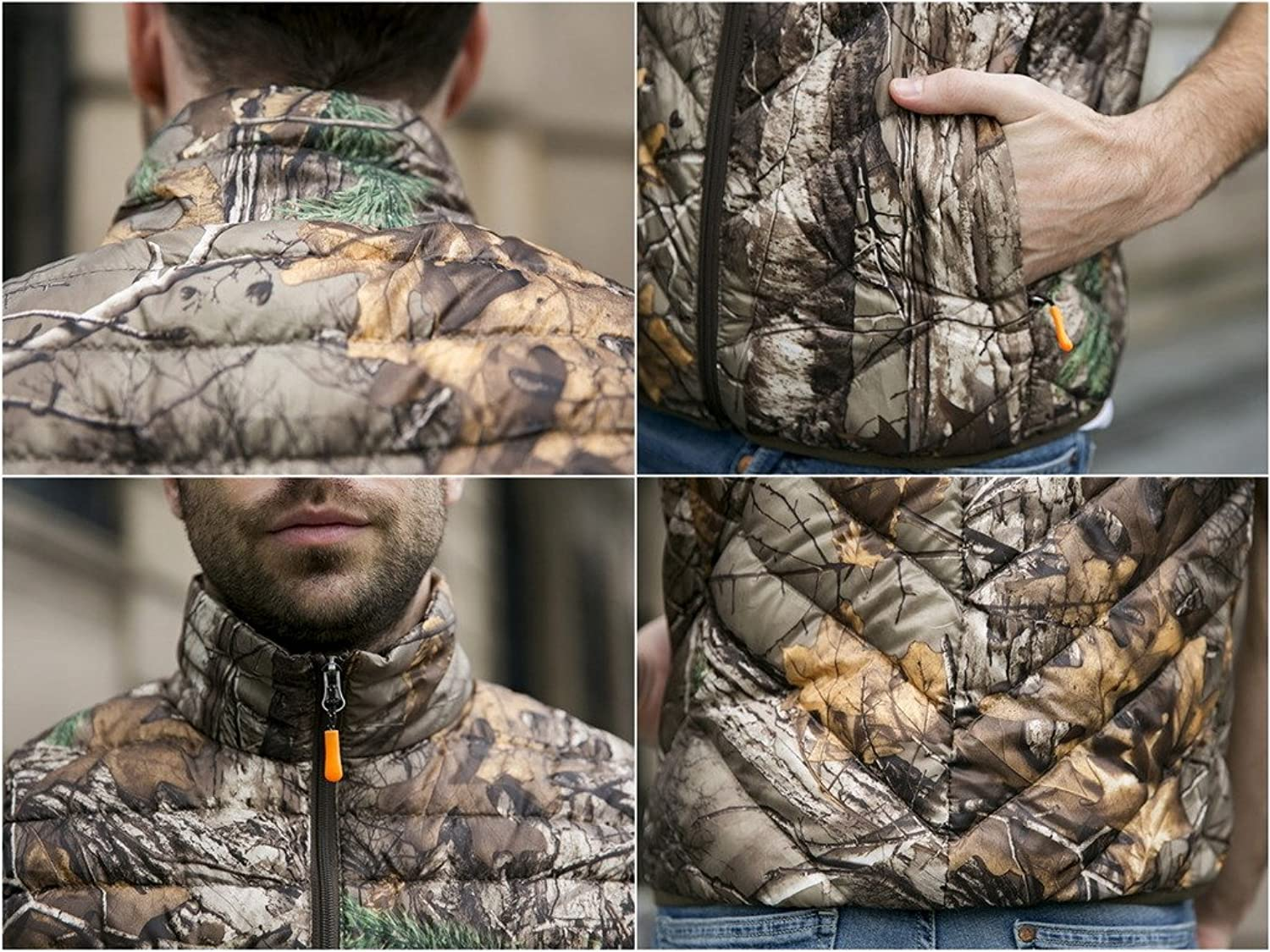 Smile YKK Mens Packable Ultra Light Weight Down Vest Trees Camouflage Jacket