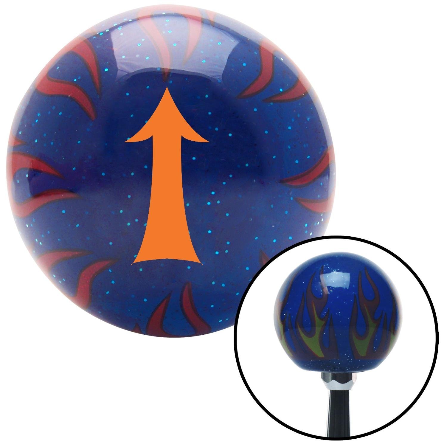 Orange Fancy Solid Directional Arrow Up American Shifter 244475 Blue Flame Metal Flake Shift Knob with M16 x 1.5 Insert