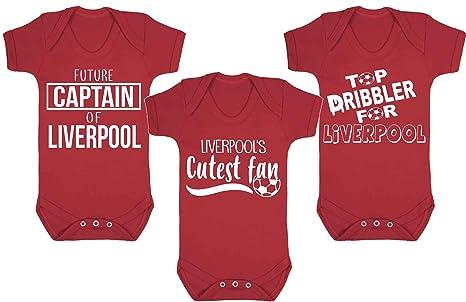 Set de 3 Liverpool fútbol ventilador de fútbol de bebé chalecos de Babygrow Pelele bebé fútbol