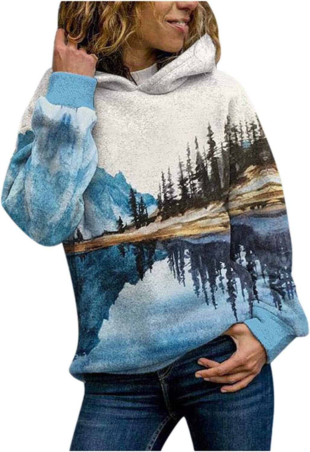 Womens Cute Hoodies Mountain Landscape Treetop Printed Hooded Sweatshirts Fashion Lightweight Pullover Tops