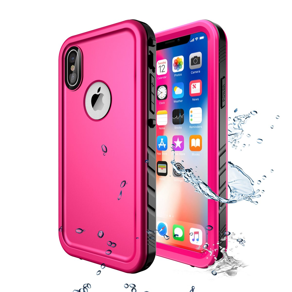 iPhone X Waterproof Case,Wireless Charging Support iPhone X Waterproof Shockproof Full-body Rugged Cover Case with Built-in Screen Protector for Apple iPhone X (Pink)