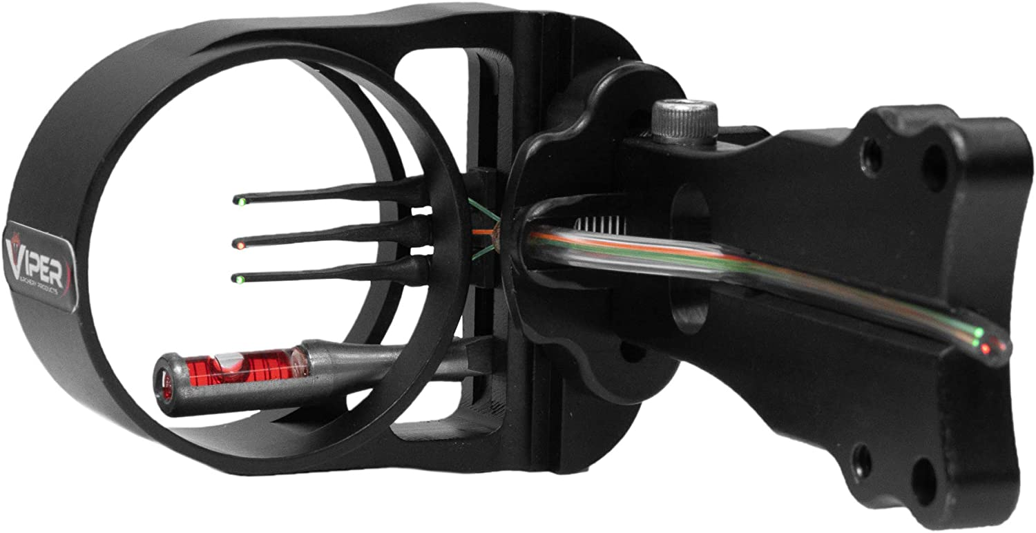 VIPER Archery Venom JR. Compound Bow Sight, Made in USA, Durable Machined Aluminum, 3 Ultra-Bright Fiber-Optic Pins, Simple Elevation & Pin Adjustments, 0.019 Pin