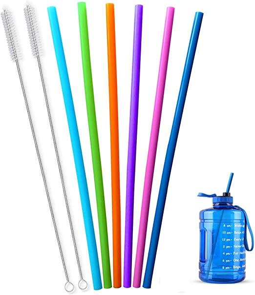 Extra Long 14.5 Inch Reusable Silicone Straws for Wine Bottle,1 Gallon/128 64 75 OZ Water Bottle,Mugs,1/Half Gallon Hydro Water Jug, Flexible Tall Giant Big Gallon Jug Drinking Straw With Brush-8 Pack