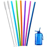 Extra Long 14.5 Inch Reusable Silicone Straws for Wine Bottle,1 Gallon/128 64 75 OZ Water Bottle,Mugs,1/Half Gallon Hydro Wat