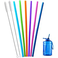 Extra Long 14.5 Inch Reusable Silicone Straws for Wine Bottle,1 Gallon/128 64 75 OZ Water Bottle,Mugs,1/Half Gallon…