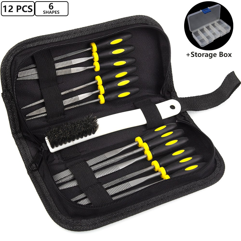 ADVcer Wood Rasp File Kit - 12 Assorted Small Metal Needle Files Set with Bristle Brush and Hand Strap Carrying Case (Rasps included 2 Sizes of Flat, Pointed Flat, Round, Half Round, Square, Triangle) by ADVcer (Image #1)