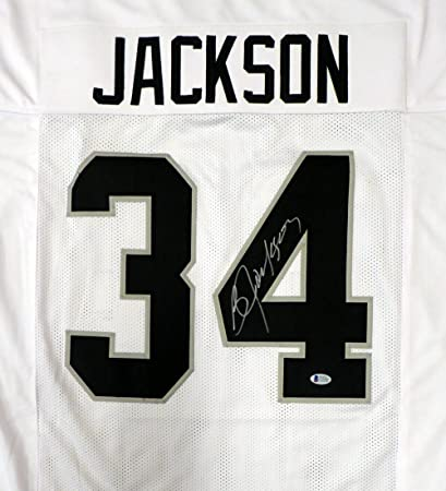 Oakland Raiders Bo Jackson Autographed White Jersey Beckett BAS at ... 0cb46ad0d