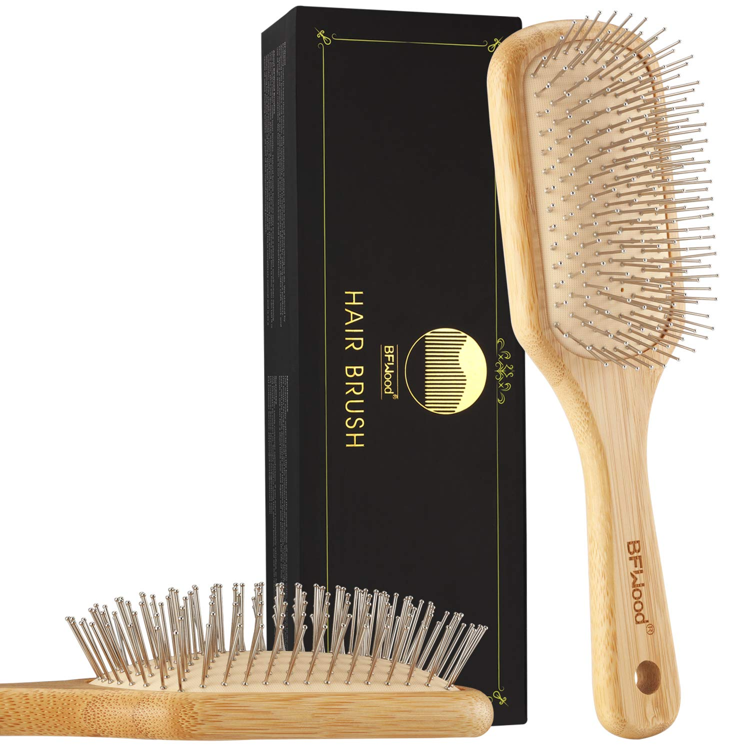 BFWood Bamboo Hair Brush with Steel Bristles for Anti-Static & Massaging Scalp