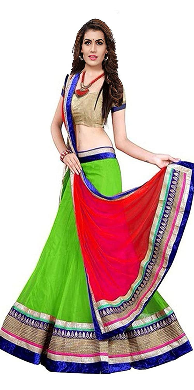 VKARAN Women's Georgette Semi-stitched Gown (Green, Free Size)