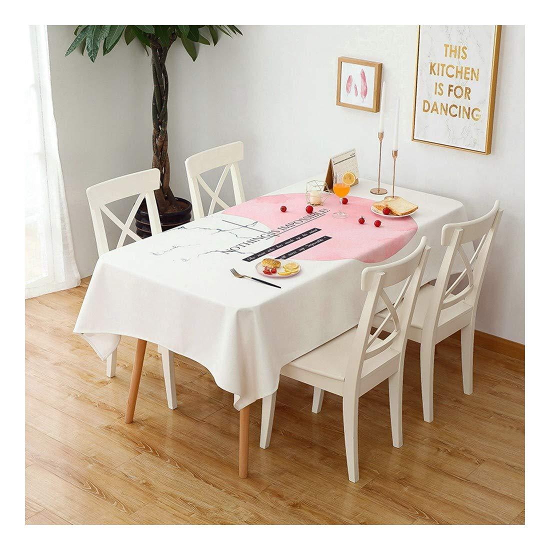 ZHAOXIANGXIANG Lavable Minimalista Cuadro Mat Cute Pink Girl Carta Patrón Decoracion Un Mantel,90Cm×130Cm
