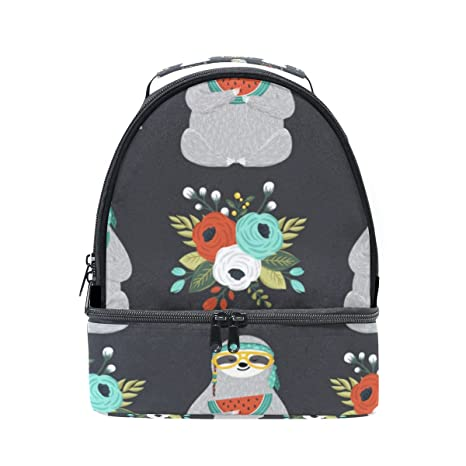 81dcdb18870e Amazon.com: Insulated Lunch Bag Cute Sloth Eating Watermelon With ...
