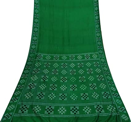 Vintage Craft Tela Sari geométrica Impreso 100% Vestido de Seda Verde Sari Hacer
