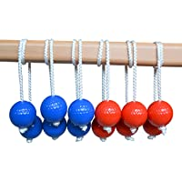Qi Mei Ladder Ball Toss Game Family Outdoor Replacement Ladder Balls Bolos Bolas Golf Balls Red and Blue
