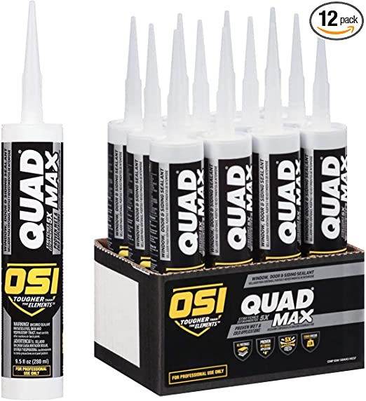 Osi Sealants 1868684 12 Pack 9 5 Oz Quad Max Window Door And Siding Sealant White Home Improvement Amazon Com