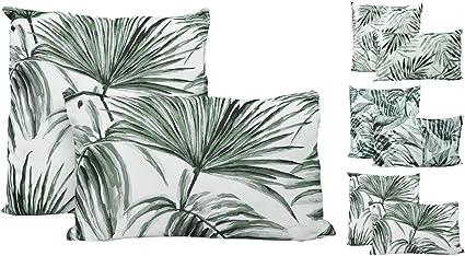 Deko Kissenhülle 30 x 50 cm Blätter Sommer grün schwarz Couch Garten Terrasse