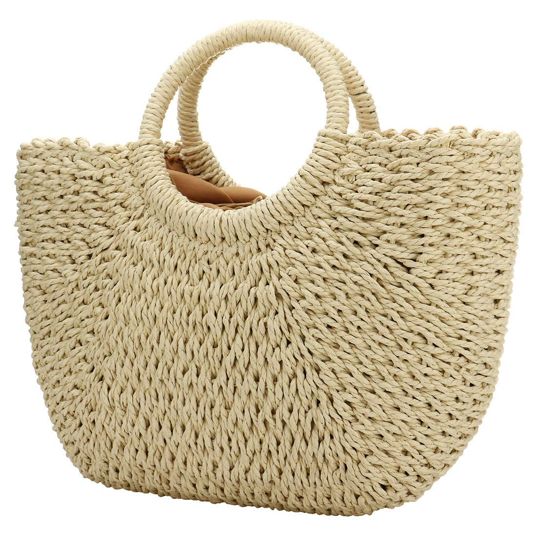 bce528fc7ba Amazon.com: Hand-woven Straw Large Hobo Bag for Women Round Handle Ring  Toto Retro Summer Beach (Beige): Clothing