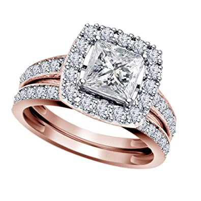 vorra fashion dainty bridal enement ring set in 925 sliver 14k gents palladium and rose gold wedding - Rose Gold Wedding Ring Set