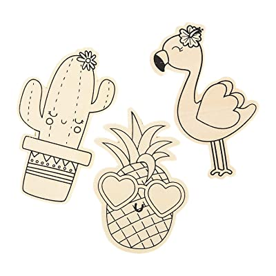 Color Your Own Wood Tropical Shapes (24Pc) - Crafts for Kids and Fun Home Activities: Toys & Games