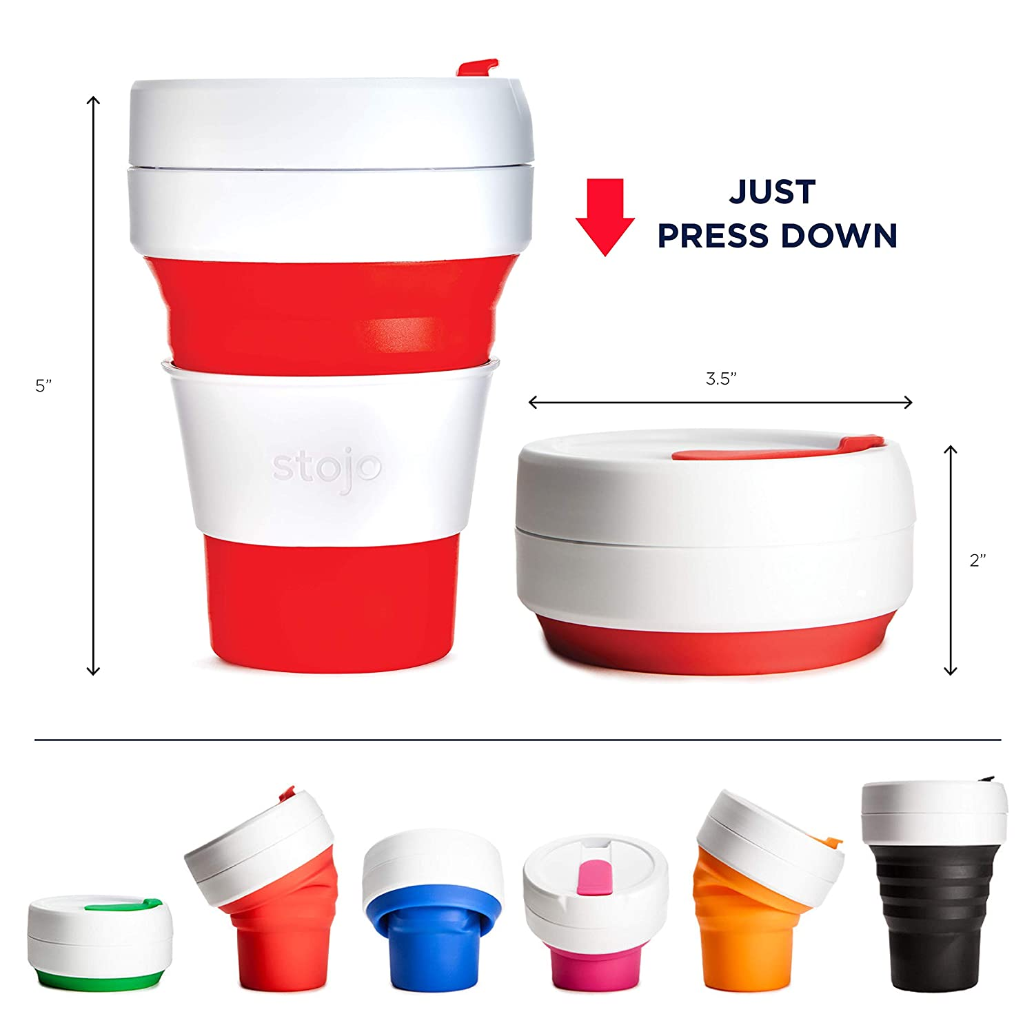 909893b9fe3 Stojo On The Go Coffee Cup | Pocket Size Collapsible Silicone Travel Cup -  Red, 12oz / 355ml: Amazon.co.uk: Kitchen & Home