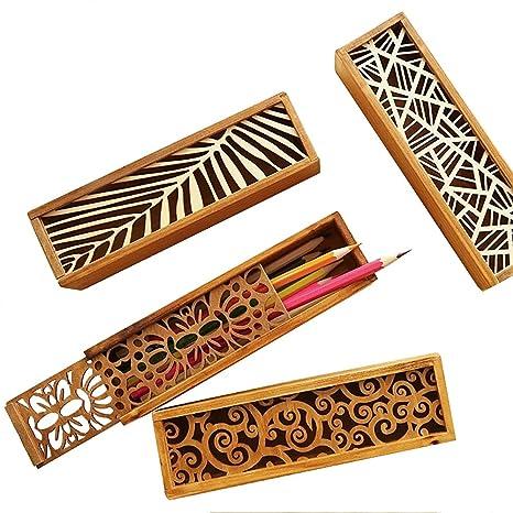 Zhi Jin 1pc Vintage hueca para bolígrafo soporte cajas madera Tire lápiz organizador de caja de