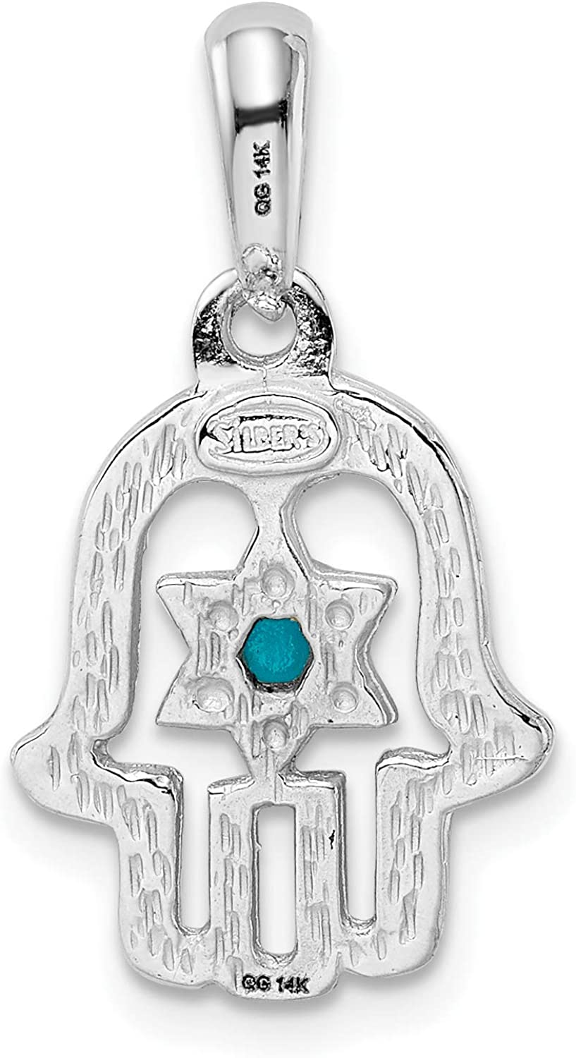 14k Solid Polished White Gold Chamseh Pendant With Turquoise Stone 25x13mm