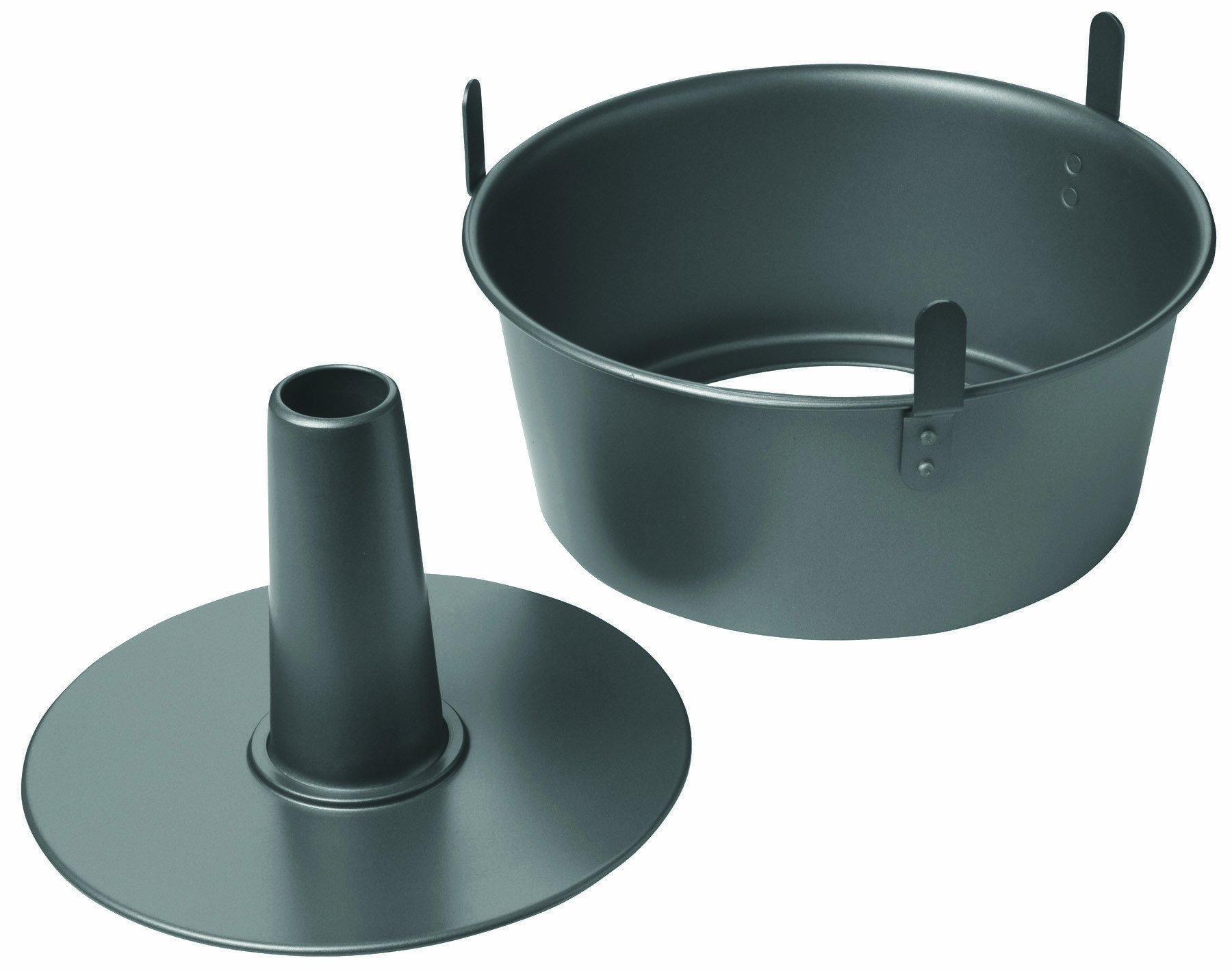 Chicago Metallic 16184 Professional 2-Piece 9.5-Inch Angel Food Cake Pan with Feet, 9.5'' x 4'', Black by Chicago Metallic