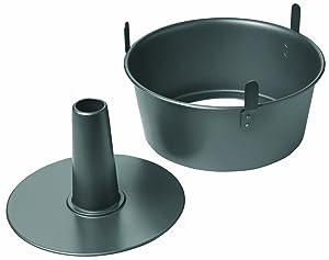 "Chicago Metallic 16184 Professional 2-Piece 9.5-Inch Angel Food Cake Pan with Feet, 9.5"" x 4"", Black"
