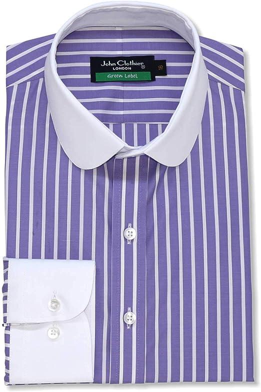 Camisa 100% algodón para hombre, diseño de rayas, color lila ...