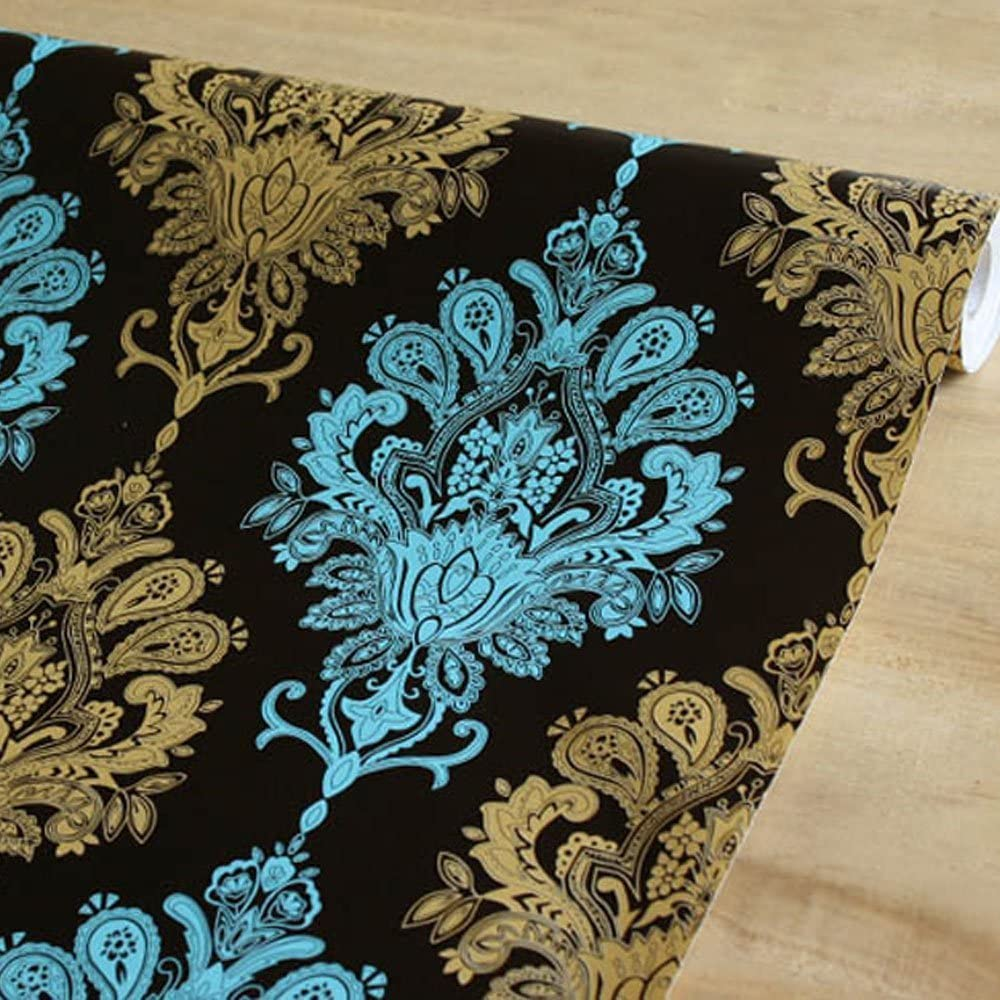 Yifely Yellow Damask Furniture Paper Pre-Pasted Shelf Liner Dresser Drawer Covering Mat 17.7 Inch by 9.8 Feet