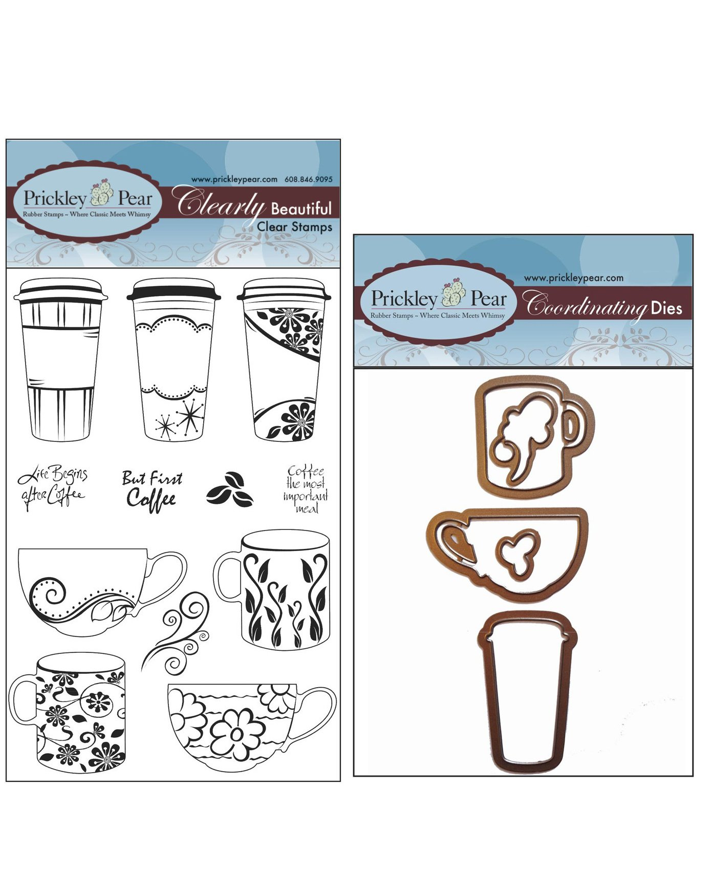 Prickley Pear Coffee Cup Clear Stamp and Die Set - CLR057 & PPRS-D057 - Bundle 2 Items