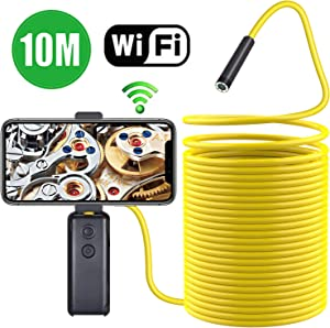 Wireless Endoscope,TurnRaise Upgrade Semi-Rigid Flexible WiFi Borescope Inspection Camera with IP67 Waterproof 2MP HD Borescope Inspection Snake Camera FIt iOS Smartphone,Samsung, iPad, Table(33FT)