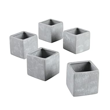 Ivy Lane Design Smooth Square Favor Flower Pots, Gray Stone, Set of 5