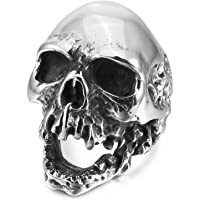 MENDINO Stainless Steel Ring Gothic Skull Biker Mens Ring Vintage Antique Silver Black Colour Including Velvet Gift Bag