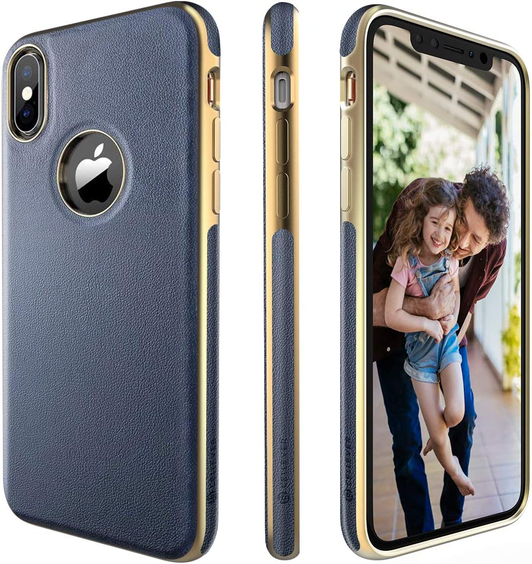 CellEver Compatible with iPhone Xs Case, iPhone X Case Premium Leather Guard Thin Slim Soft Flexible Scratch-Resistant Anti-Slip Luxury Vegan Leather Cover - Navy Blue/Gold