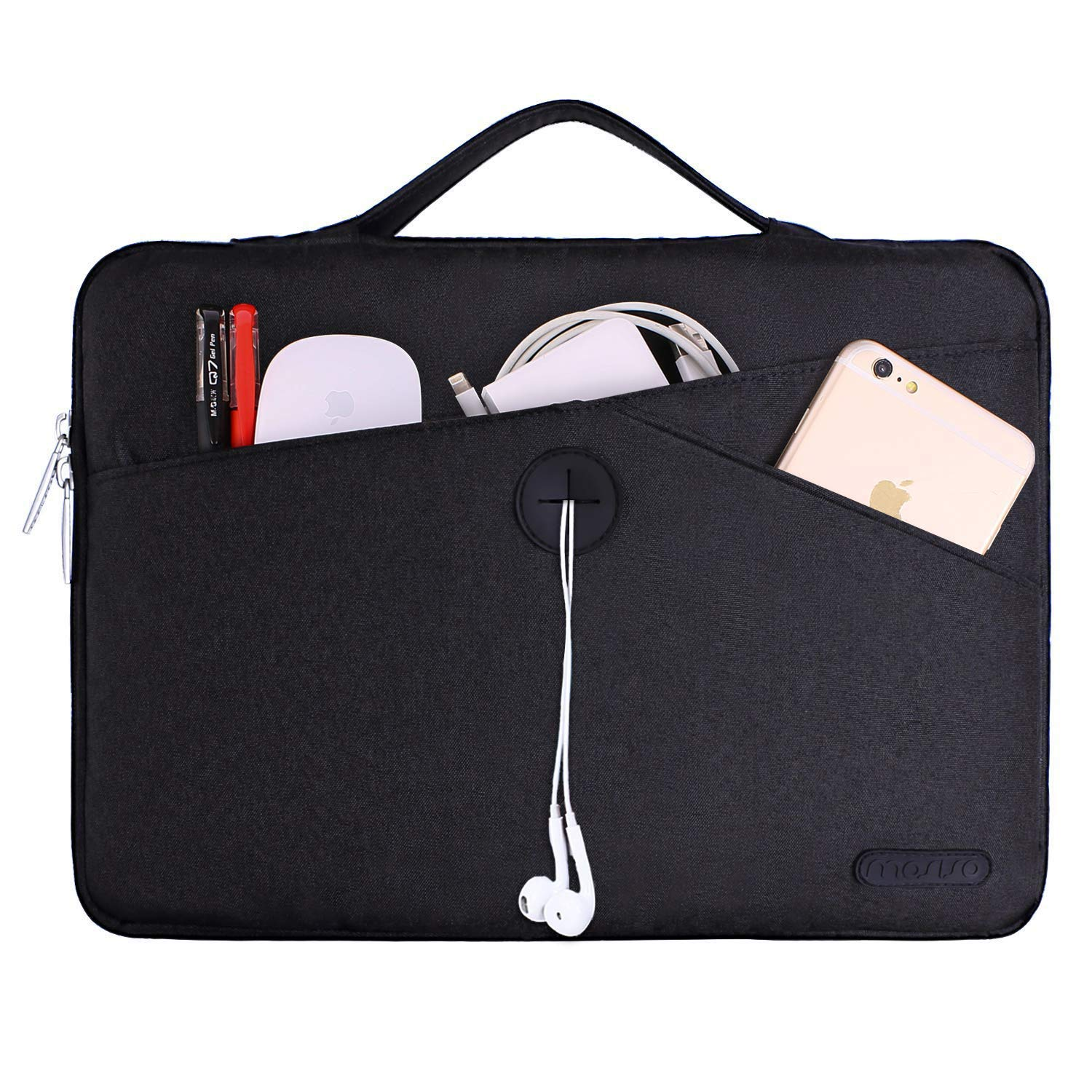 MOSISO Malet/ín Compatible con 13-13.3 Pulgadas MacBook Air//MacBook Pro Retina//2019 Surface Laptop 3//Surface Book Azul Marino 360 Funda Protectora Bolsa Blanda a Prueba de Golpe con Mango Retr/áctil