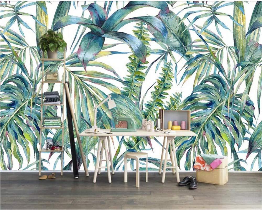 Weaeo カスタムの壁紙北欧の手は熱帯の葉を描いたテレビの背景ホテル装飾の壁紙3D T-350X250Cm B07GLLBYF5 350X250CM 350X250CM