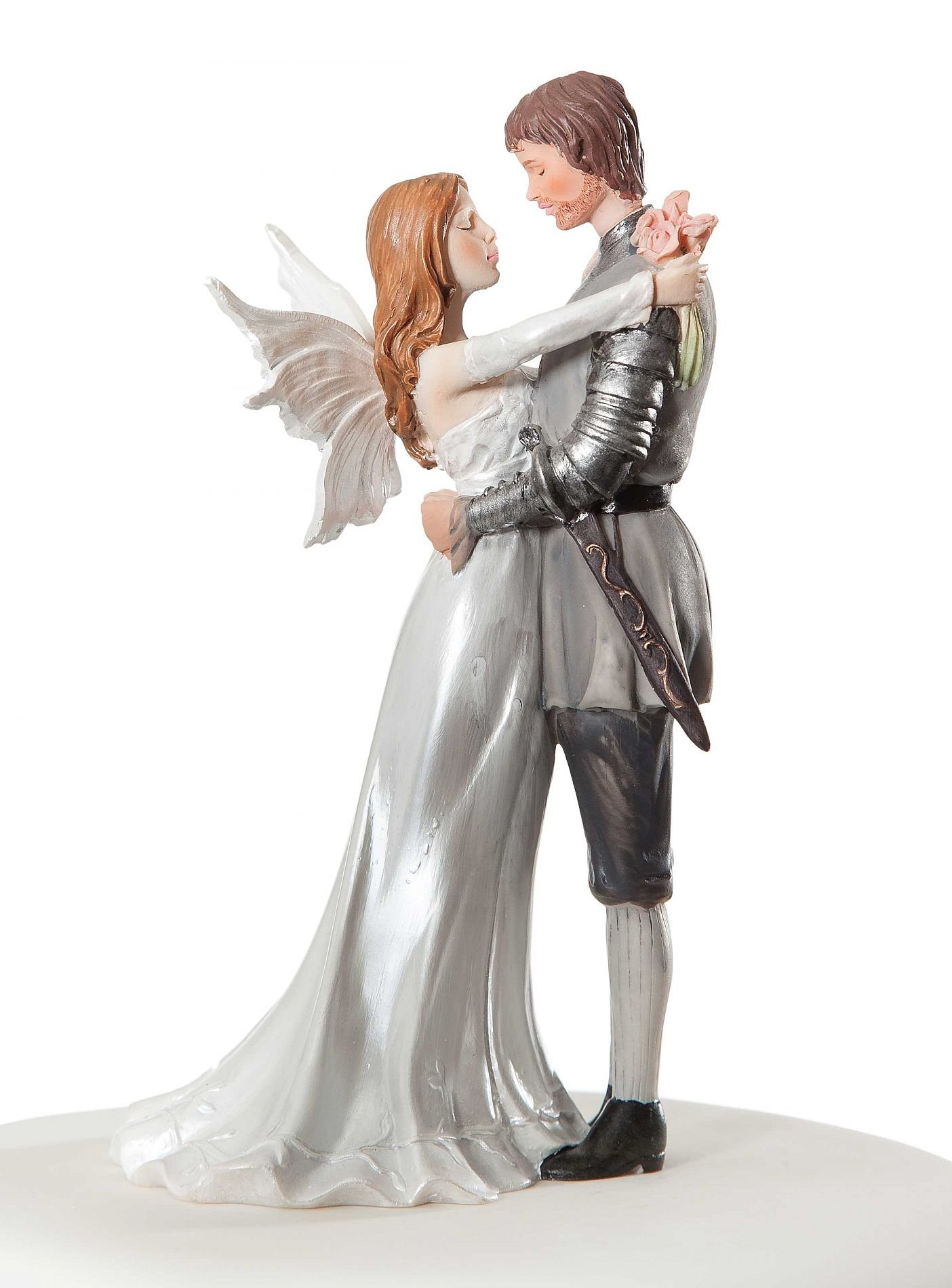 Wedding Collectibles Personalized Fantasy Fairy Wedding Cake Topper: Bride Hair: BROWN - Groom Hair: BROWN