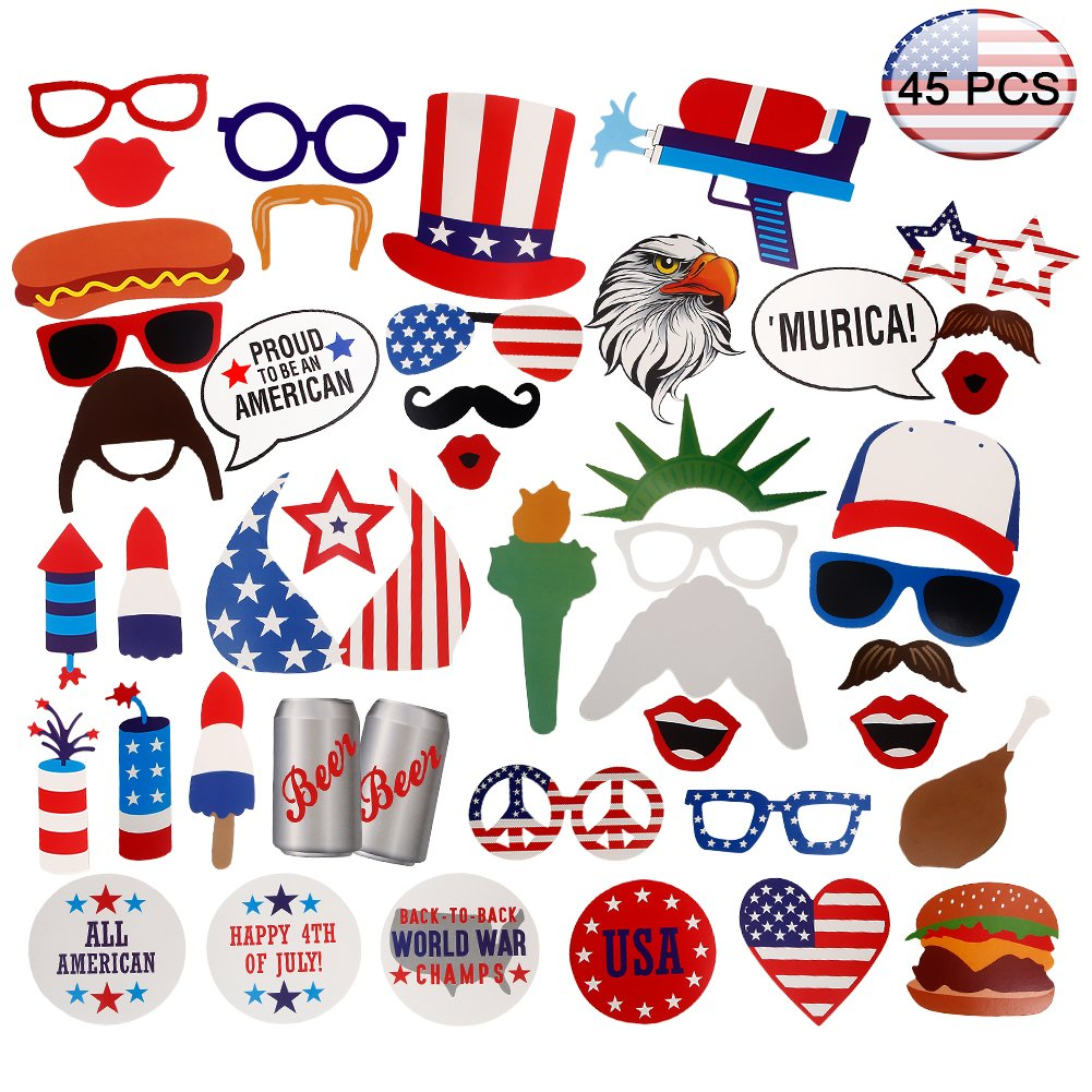 Amazoncom 4th Of July Patriotic Photo Booth Props45pack