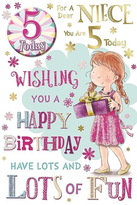 Sobrina 5th Tarjeta de cumpleaños y placa - 5 hoy niña ...